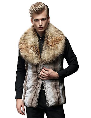 voordelige Bont & Leder-Heren Dagelijks Winter Vest, Kleurenblok Ingesneden revers Imitatiebont Bontzoom / Patchwork Bruin