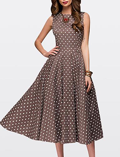5c69a1aa801 Women s Going out Vintage 1950s A Line Dress - Polka Dot Brown Green Red  XXL XXXL XXXXL