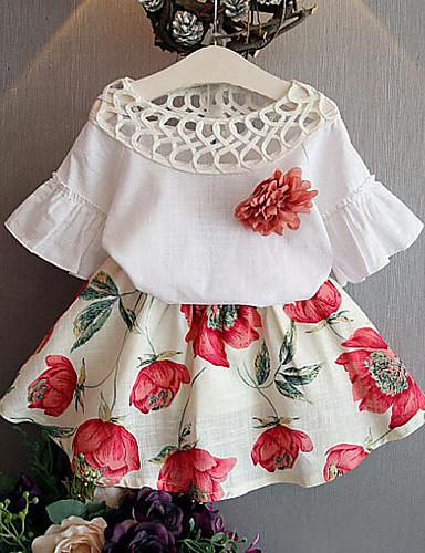 Djeca Djevojčice Aktivan Ulični šik Dnevno Izlasci Cvjetni print Kolaž Nabori Kolaž Print Dugih rukava Regularna Komplet odjeće Obala