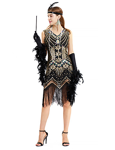 48e2a7080f6 The Great Gatsby Vintage 1920s Costume Women s JSK   Jumper Skirt Green    Black+Sliver   Golden+Black Vintage Cosplay Sequin Party Prom Sleeveless ...