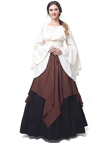 7ac86de7d99b3 Princess Cosplay Retro / Vintage Medieval Renaissance Costume Women's Dress  Brown / Red black / Green Vintage Cosplay Long Sleeve Flare Sleeve Long  Length