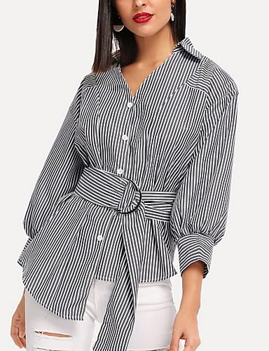 povoljno Majica-Majica Žene - Osnovni Dnevno Prugasti uzorak V izrez Sive boje