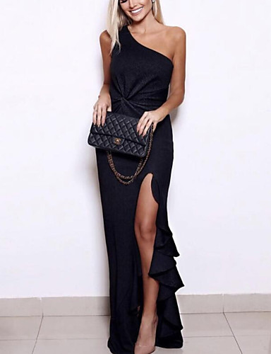 저렴한 여성 드레스-여성용 파티 슬림 칼집 드레스 - 한 색상, 주름장식 비대칭 원 숄더