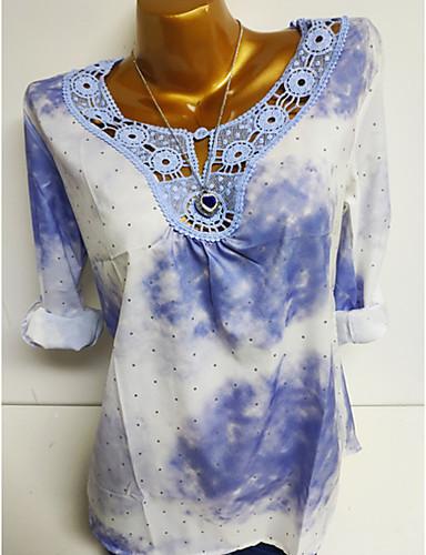 billige Dametopper-Store størrelser Skjorte Dame - Ensfarget / Polkadotter / Geometrisk Grunnleggende Rosa