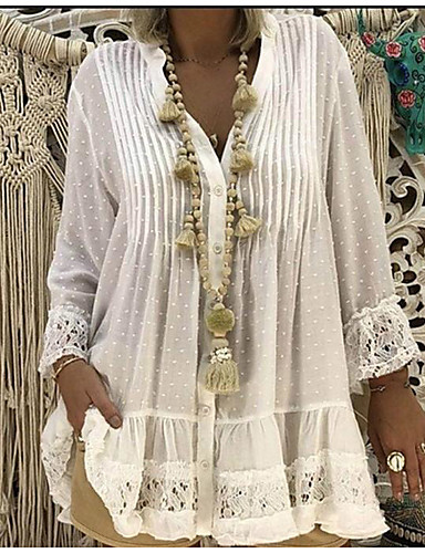 billige Dametopper-Blonder V-hals Store størrelser T-skjorte Dame - Helfarge, Blonde Bluser / Bohem Strand Rosa