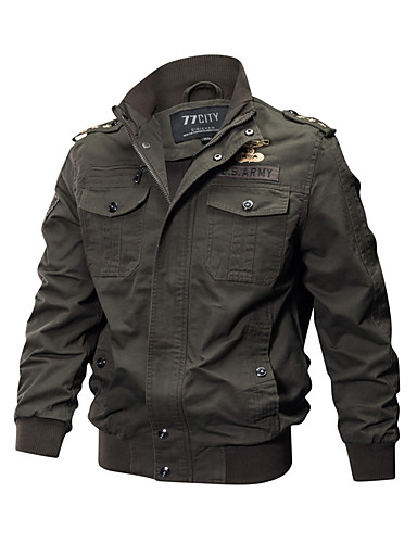 cheap Up to 90% off-Men's Daily Military Spring / Fall / Winter Plus Size Regular Jacket, Solid Colored Stand Long Sleeve Cotton Embroidered Black / Army Green / Khaki 4XL / XXXXXL / XXXXXXL