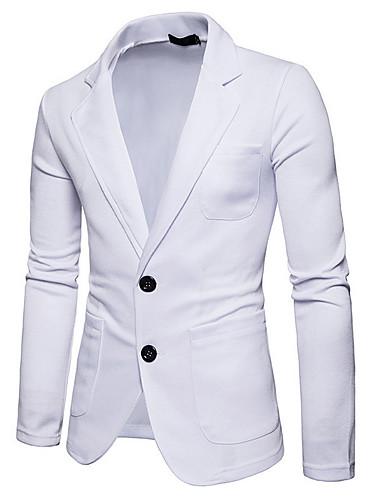 cheap Men's Outerwear-Men's Daily Business Fall Regular Blazer, Solid Colored Shirt Collar Long Sleeve Polyester Black / Dark Gray / Light gray L / XL / XXL / Business Casual / Slim