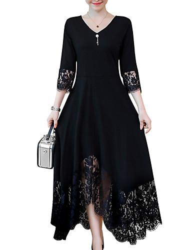 voordelige Maxi-jurken-Dames Grote maten A-lijn Jurk - Effen, Lace Trim V-hals Maxi Zwart