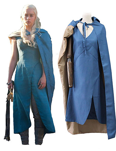 halpa Cosplay ja rooliasut-Valtaistuinpeli Lohikäärmeäiti Daenerys Targaryen Asut Unisex Elokuva Cosplay Sininen Viritin Halloween Karnevaali Masquerade 100% polyesteri Tavallinen tvilli