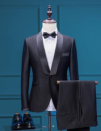ราคาถูก ชุดเหย้า-สีพื้น Tailored Fit เส้นใยสังเคราะห์ สูท - ปกคลุม กระดุมหนึ่งเม็ดเรียงแถวเดียว / ชุด