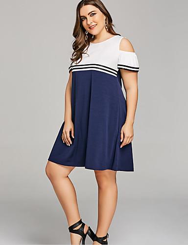 97e792aaace59 Women s Plus Size Daily Basic Slim Shift Dress - Color Block Strap Blue XXXL  XXXXL XXXXXL