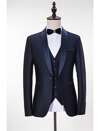 billiga Brudgum och marskalkar-Enfärgad Skräddarsydd passform Polyester Kostym - Sjal Singelknäppt 1 Knapp
