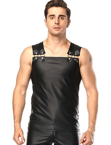 voordelige Shall We®-Exotische Dancewear Nachtclub jumpsuits / Paaldans Heren Opleiding / Prestatie PU Metallic gesp Mouwloos Top