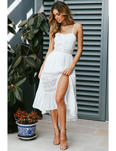 9b9cf795616 Women s Party Daily Beach Elegant Maxi Swing Dress - Solid Colored Backless  Long Strap Lace White M L XL   Sexy  07045937