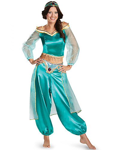 cheap Cosplay & Costumes-Princess Jasmine Cosplay Costume Adults' Women's Halloween Christmas Halloween Carnival Festival / Holiday Tulle Polyster Green Carnival Costumes Princess