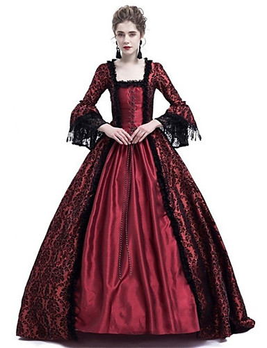 e983649d5af Queen Cosplay Duchess Vintage Inspired Medieval Ball Gown Costume Women s  Dress Costume Purple   Red   Ink Blue Vintage Cosplay Party Prom Long  Sleeve Lace ...