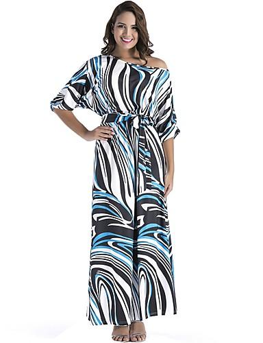656c6221a8fe Γυναικεία Εξόδου Βασικό Θήκη Φόρεμα - Μονόχρωμο Ριγέ Μακρύ Ώμοι Έξω   Sexy