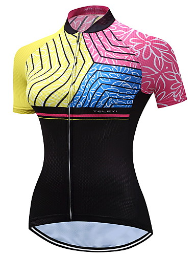 TELEYI Women s Short Sleeve Cycling Jersey - Pink Floral   Botanical Bike  Jersey Breathable Quick Dry Sports Polyester Mountain Bike MTB Road Bike  Cycling ... 89e2baf5e