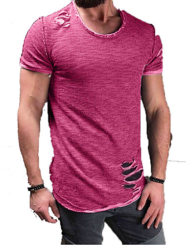 cheap Men's Tees & Tank Tops-Men's Daily Weekend Basic Cotton T-shirt - Solid Colored Shirt Collar Gray XXL / Short Sleeve