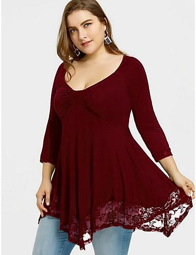 billige Dametopper-U-hals Store størrelser T-skjorte Dame - Ensfarget Gatemote Lilla