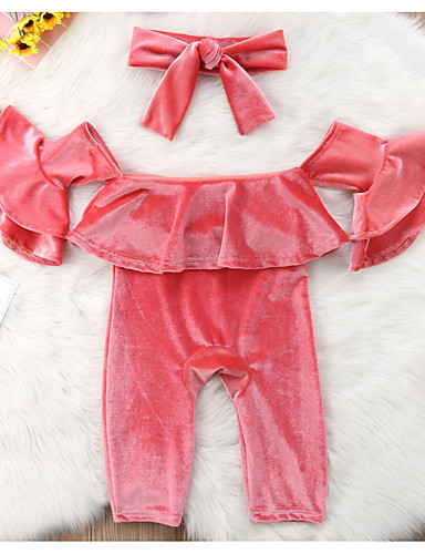 Toddler Girls' Active Daily Solid Colored Long Sleeve Short Regular Polyester Clothing Set Pink