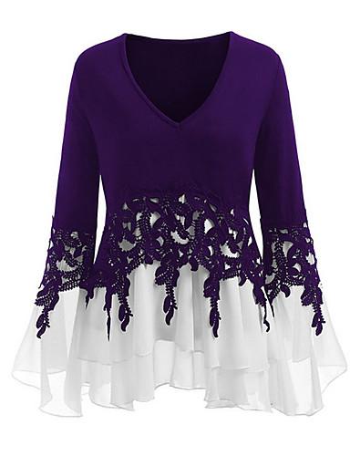 abordables Hauts pour Femme-Tee-shirt Grandes Tailles Femme, Bloc de Couleur Col en V Violet