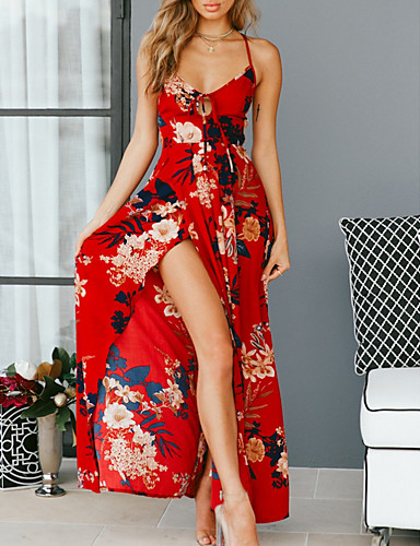 1cdccee682 Women's Party / Beach Asymmetrical Swing / Abaya Dress - Floral Backless /  Print / Strappy