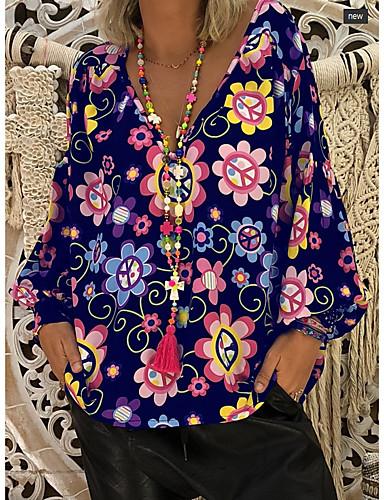 abordables Hauts pour Femmes-Chemisier Grandes Tailles Femme, Fleur / Imprimé / Mode Tropical Basique Col de Chemise Noir / Printemps / Eté / Automne / Hiver