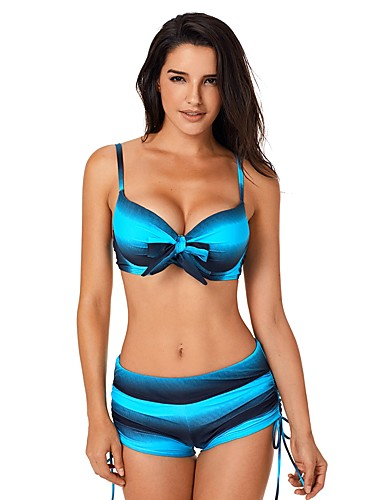 Žene Osnovni Bez naramenica Plava Red Zamotajte Dječak nogu Tankini Kupaći kostimi - Color block Print L XL XXL Plava / Sexy