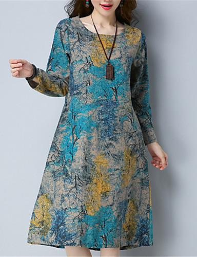 abordables Robes Femme-Femme Chinoiserie Midi Ample Robe - Imprimé, Fleur Bleu Eté Bleu Rouge L XL XXL Manches Longues