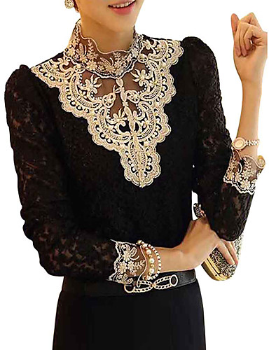 cheap Women's Tops-Women's Daily Weekend Lace Blouse - Patchwork Black & White, Lace Trims Stand Black / Fall