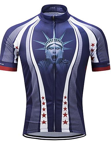 cheap Cycling Clothing-TELEYI Men's Short Sleeve Cycling Jersey - Blue Bike Jersey Top Moisture Wicking Quick Dry Sports Polyester Mountain Bike MTB Road Bike Cycling Clothing Apparel / Stretchy / SBS Zipper