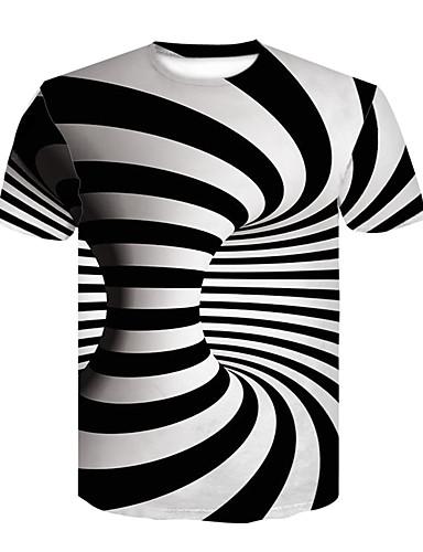 お買い得  3/20-男性用 プリント Tシャツ ベーシック / ストリートファッション カラーブロック / 3D ブラック&ホワイト