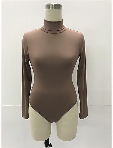 povoljno Ženske majice-bodysuit Žene - Osnovni Dnevno Pamuk Jednobojni Dolčevita Slim, Izrezati Vojska Green