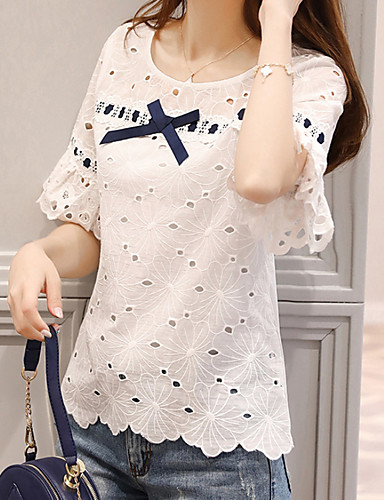 cheap Women's Tops-Women's Daily T-shirt - Geometric / Color Block Vintage Style / Hollow U Neck White / Spring / Summer / Fall