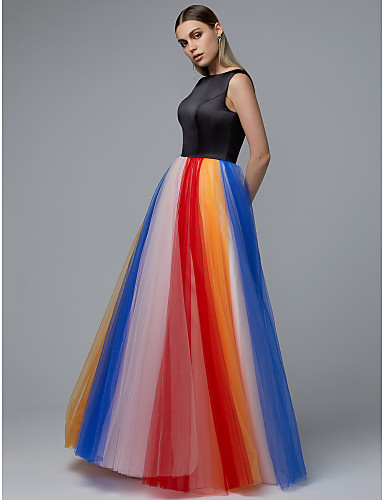 cheap Prom Dresses-A-Line Jewel Neck Floor Length Satin / Tulle Prom Dress with Pattern / Print by TS Couture®
