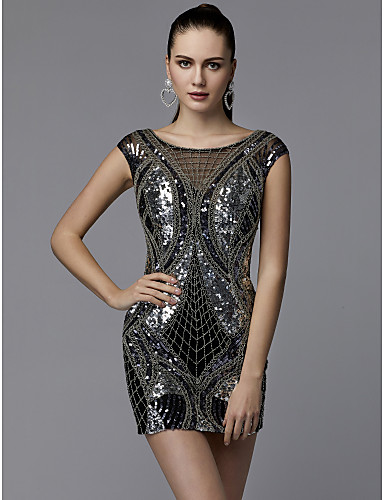 Sheath   Column Jewel Neck Short   Mini Sequined Sparkle   Shine Cocktail  Party Dress with Beading   Sequin by TS Couture® 53c20d936471