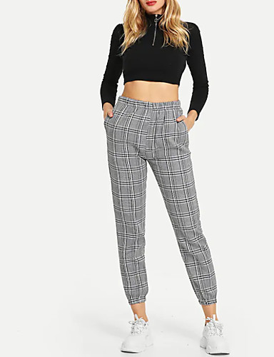 A Mujer Chinos Cuadros 7090689 2019 Algodón Pantalones Gris cTlFK1J