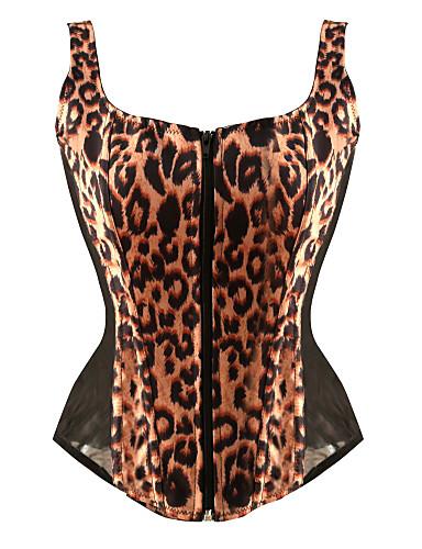 billige Korsetter-Normal Polyester Korsett Sexy Leopard Fest / aften Snøring Overbustkorsett