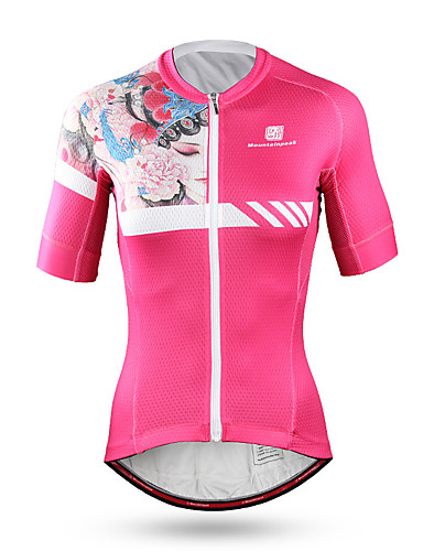 88411b092 Mountainpeak Women s Short Sleeve Cycling Jersey - Pink Floral   Botanical Bike  Jersey Quick Dry Anatomic Design Sports Coolmax® Terylene Mountain Bike MTB  ...