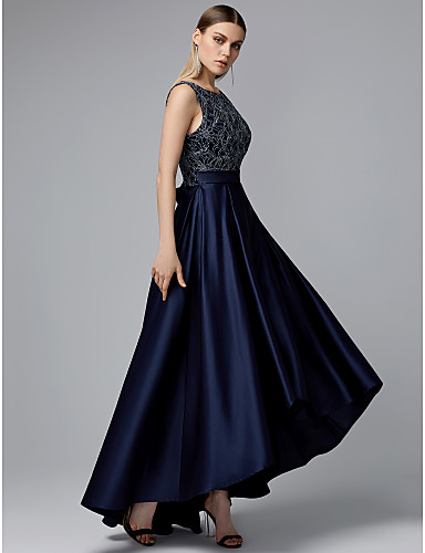 8d756875be cheap Evening Dresses-A-Line Jewel Neck Asymmetrical Lace   Satin Vintage  Inspired Cocktail