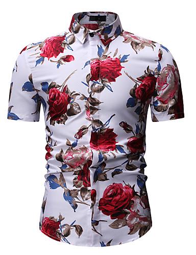 voordelige Herenoverhemden-Heren Print Overhemd Bloemen Klassieke boord Wit / Korte mouw