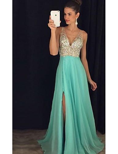 b50938bd736 Women s Party   Evening Elegant Maxi Sheath Dress - Color Block Sequins  Split High Waist Deep V Pink Light Green Royal Blue M L XL   Sexy