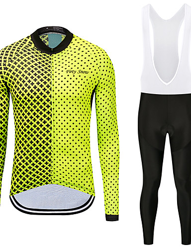 cheap Cycling Clothing-FirtySnow Men's Long Sleeve Cycling Jersey with Bib Tights - White Black Bike Clothing Suit Fleece Lining Quick Dry Winter Sports Polyester Spots & Checks Mountain Bike MTB Road Bike Cycling Clothing