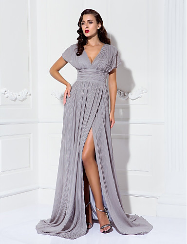 b14026260802 Sheath / Column V Neck Sweep / Brush Train Chiffon Formal Evening Dress  with Ruched /