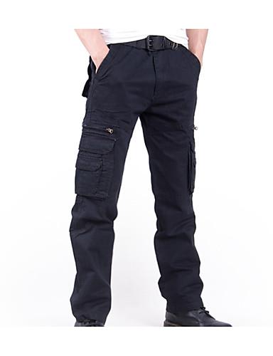 abordables Pantalones Cargo-Hombre Algodón Chinos / Pantalones tipo cargo Pantalones - Un Color Negro