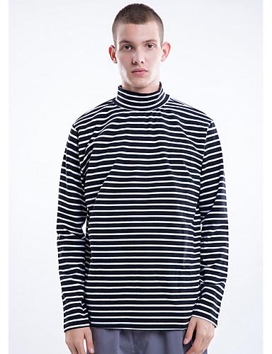 Hombre Chic de Calle Camiseta, Cuello Alto A Rayas Negro M / Manga Larga