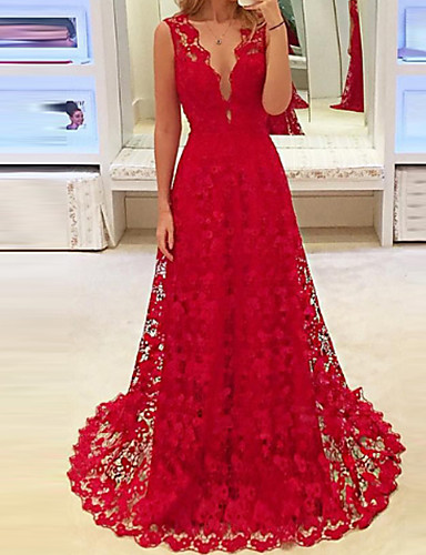 cab5cf5a72de Women's Party Birthday Maxi Slim Sheath Dress - Solid Colored Lace Deep V  Spring Red M L XL / Sexy