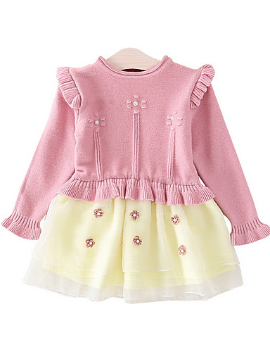 Baby Jente Aktiv Ensfarget Langermet Polyester Kjole Rosa