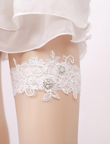 Csipke Elegáns   Menyasszonyi Wedding Garter Val vel Kristállyal díszített  stílus   Gyöngydíszítés Harisnykötők Esküvő   Parti 614dd6771f